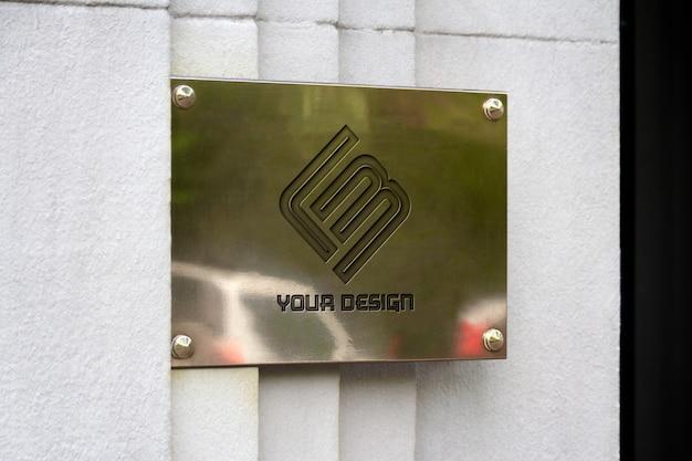 Metaliczny Znak Na ścianie Makieta Premium Psd