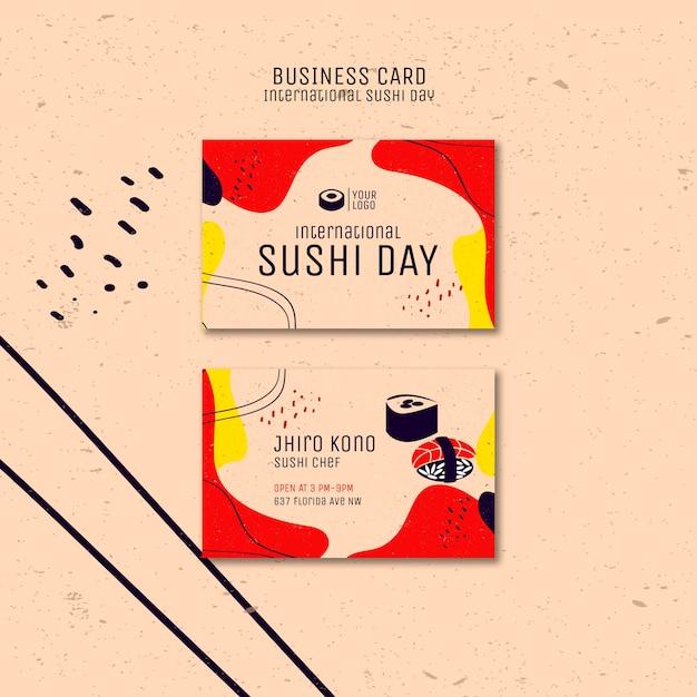 Międzynarodowa Wizytówka Dnia Sushi Darmowe Psd