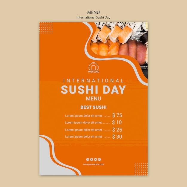 Międzynarodowe Menu Dnia Sushi Darmowe Psd