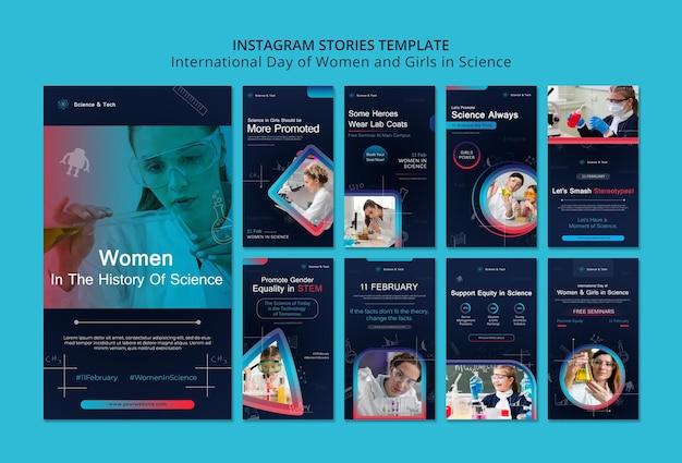 Międzynarodowy Dzień Kobiet I Dziewcząt W Naukowych Historiach Na Instagramie Premium Psd