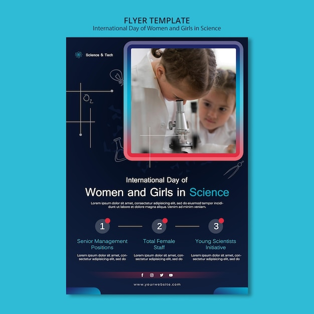 Międzynarodowy Dzień Kobiet I Dziewcząt W Szablonie Wydruku Naukowego Darmowe Psd