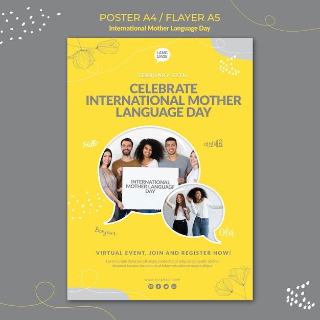 Międzynarodowy Plakat Dnia Języka Ojczystego Premium Psd