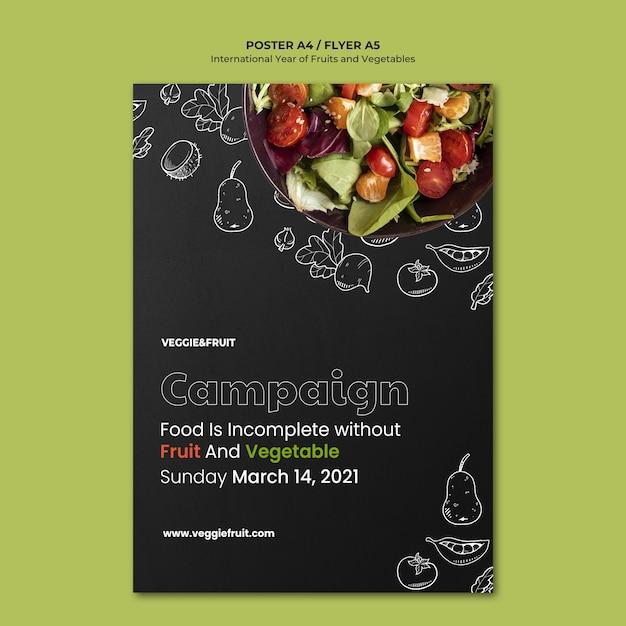 Międzynarodowy Rok Owoców I Warzyw Plakat Darmowe Psd