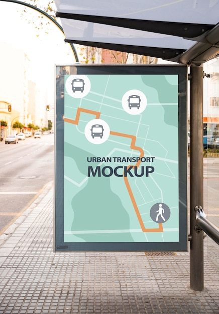 Miejski Przystanek Autobusowy Z Makietą Darmowe Psd