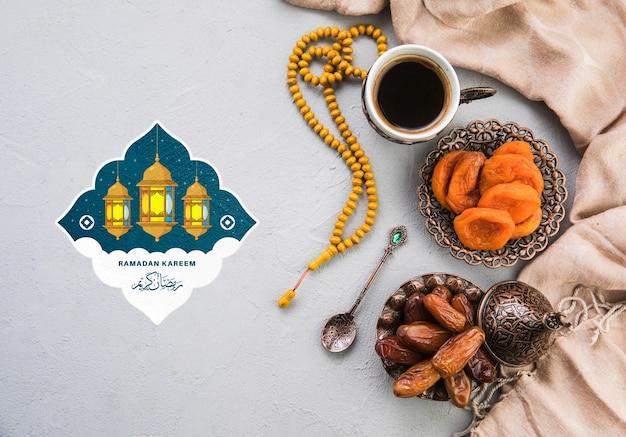 Mieszkanie świeckich Ramadan Kompozycji Z Copyspace Darmowe Psd