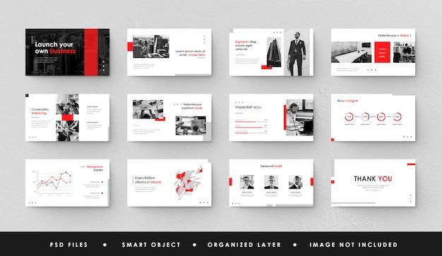 Minimalistyczna Czerwona Biała Prezentacja Biznesowa Slajd Power Point Landing Page Keynote Premium Psd