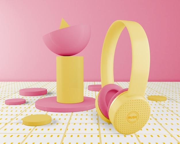 Minimalistyczne żółte Ułożenie Słuchawek Darmowe Psd