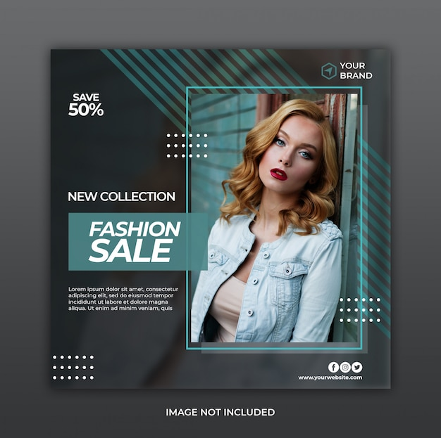 Minimalistyczny Promocja Sprzedaży Mody Transparent Lub Kwadratowych Ulotki Dla Szablonu Post Mediów Społecznościowych Premium Psd