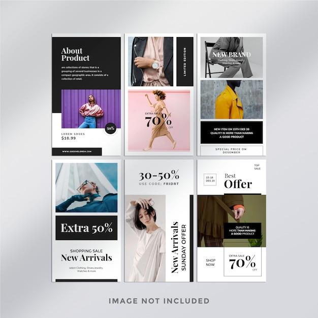 Minimalistyczny Szablon Pakietu Historii Na Instagramie Mody Premium Psd