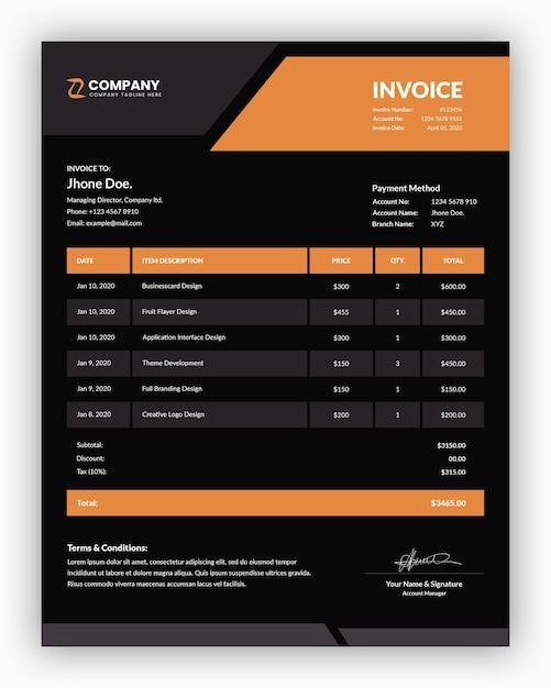 Minimalna Korporacyjna Ciemność Z Pomarańczowym Szablonem Faktury Biznesowej Premium Psd