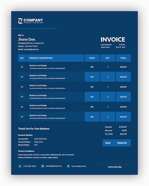 Minimalny Profesjonalny Ciemny Z Niebieskim Projektem Szablonu Faktury Biznesowej Premium Psd
