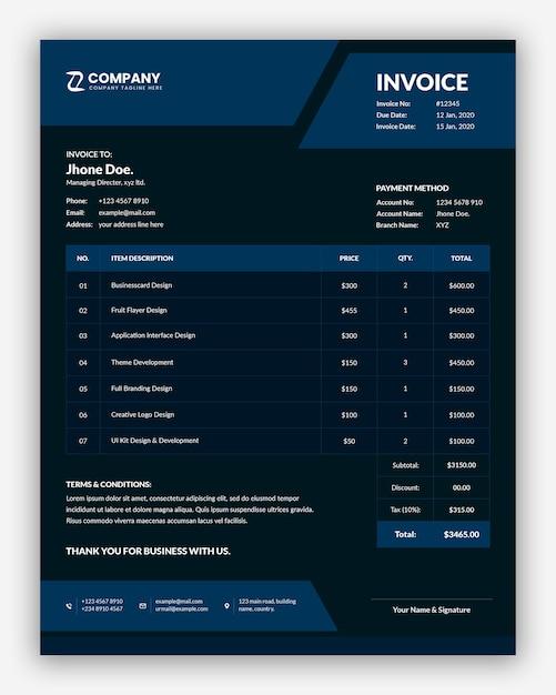 Minimalny Szablon Faktury Streszczenie Ciemny Biznes Premium Psd