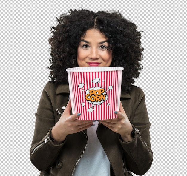 Młoda Kobieta Gospodarstwa Popcorn Premium Psd
