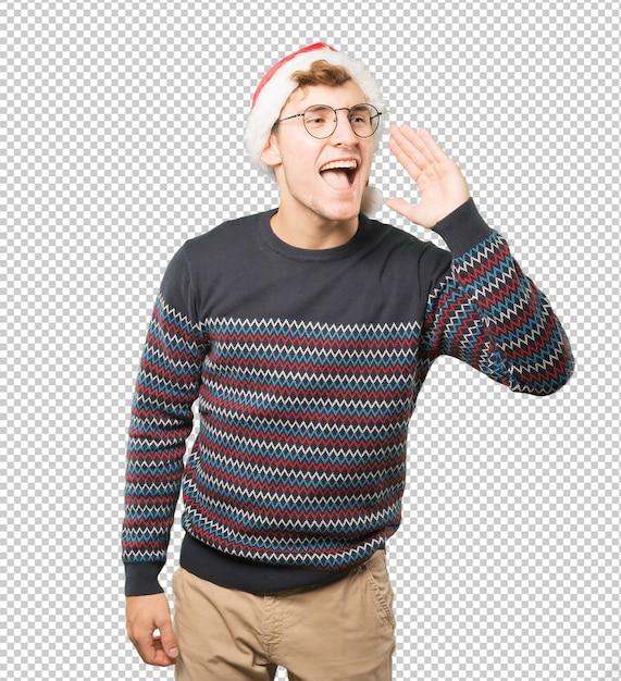 Młody Człowiek Na Boże Narodzenie Robi Gesty Premium Psd