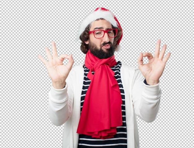 Młody Człowiek święta Bożego Narodzenia. Wyrażanie Emocji I Pojęć Premium Psd