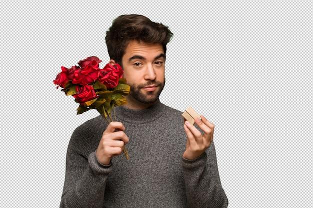 Młody Człowiek świętuje Valentines Dzień Premium Psd