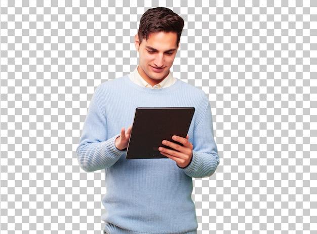 Młody przystojny garbowane człowiek z tablet z ekranem dotykowym Premium Psd