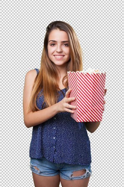 Młody śliczny Kobiety Mienia Popkorn Premium Psd