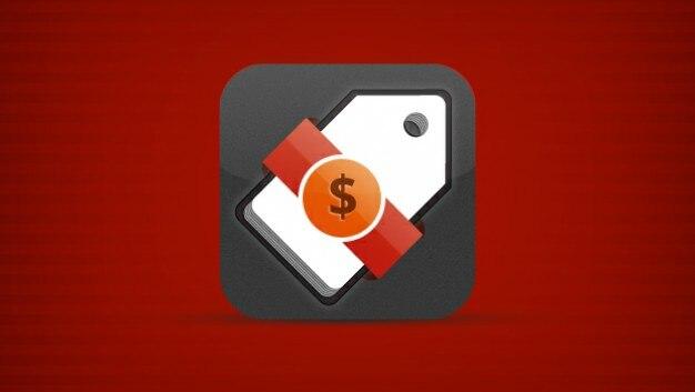 Mobile icon tag app z $ ribbon Darmowe Psd