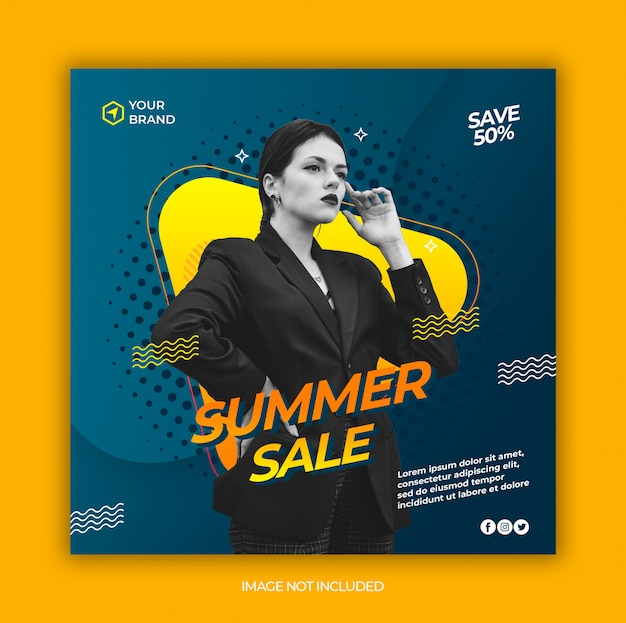 Moda Lato Sprzedaż Mediów Społecznościowych I Kwadratowy Baner Internetowy Premium Psd