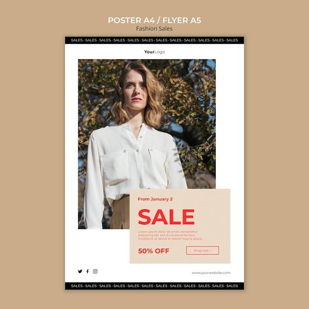 Moda Sprzedaż Kobieta Niski Widok Plakat Szablon Darmowe Psd