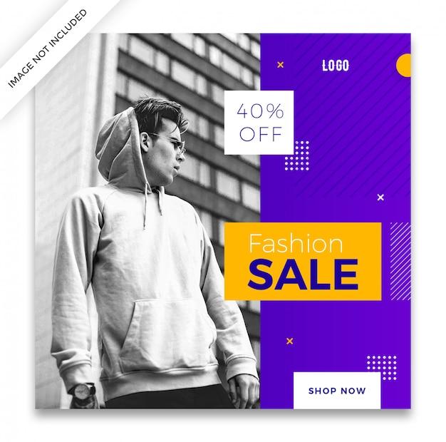 Moda sprzedaż kwadratowy baner lub instagram szablon projektu post Premium Psd