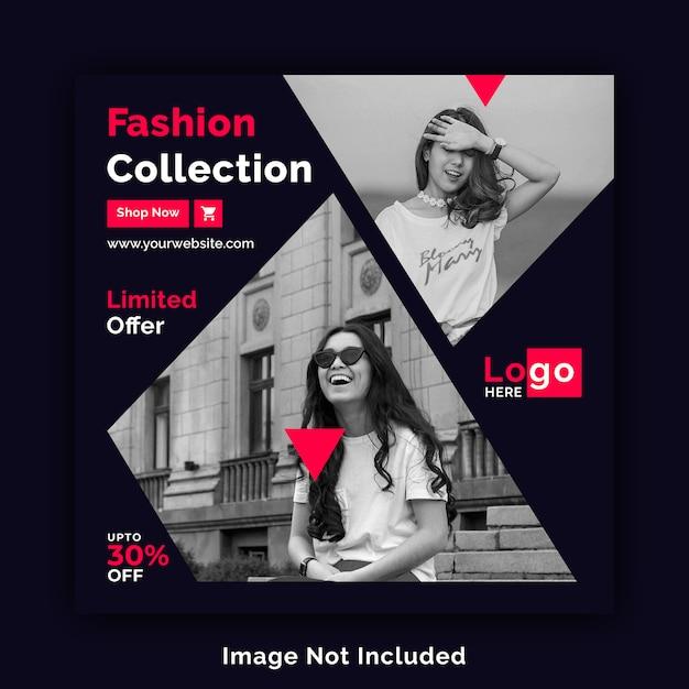 Moda sprzedaż media społecznościowe kwadratowy szablon transparent psd Premium Psd