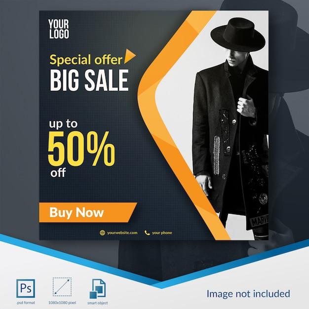 Moda zniżki sprzedaży szablon mediów społecznych Premium Psd