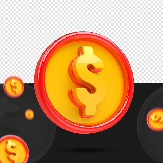 Moneta 3d Pozostawiona Do Składu Na Białym Tle Premium Psd