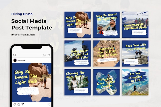 Mountain travel brush instagram post collection set Premium Psd