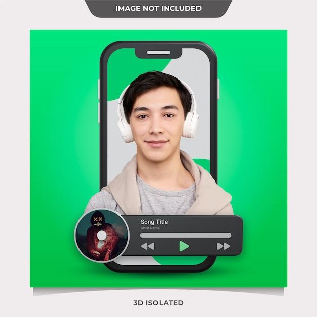 Muzyka 3d I Pocast Do Makiety Postów W Mediach Społecznościowych Premium Psd
