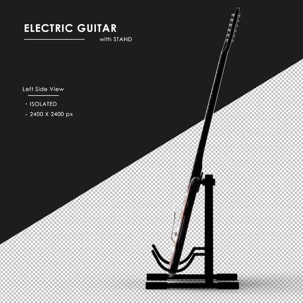 Na Białym Tle Gitara Elektryczna Ze Stojakiem Od Lewej Strony Widoku Premium Psd