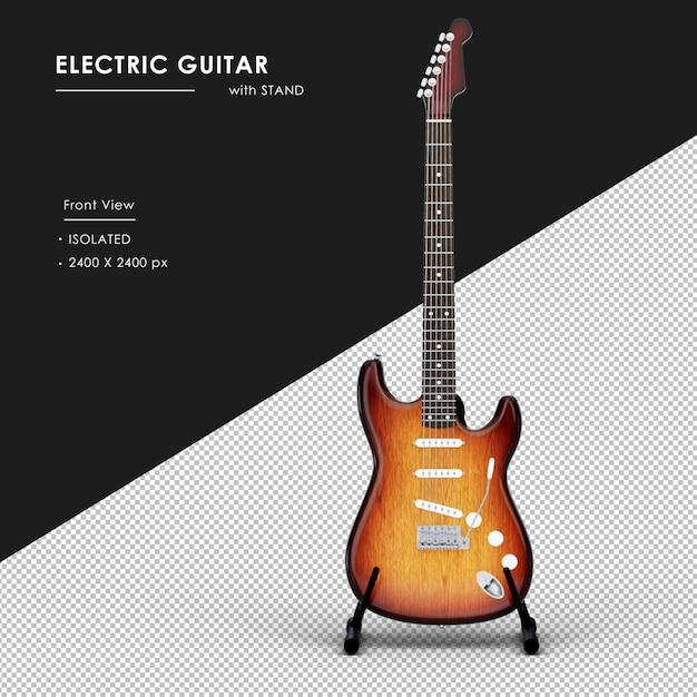 Na Białym Tle Gitara Elektryczna Ze Stojakiem Od Przodu Widok Premium Psd