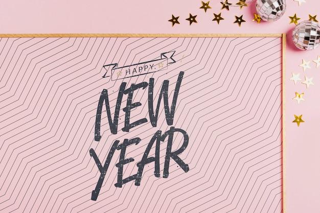 Napis Na Nowy Rok Z Prostą Ramą Na Różowym Tle Darmowe Psd