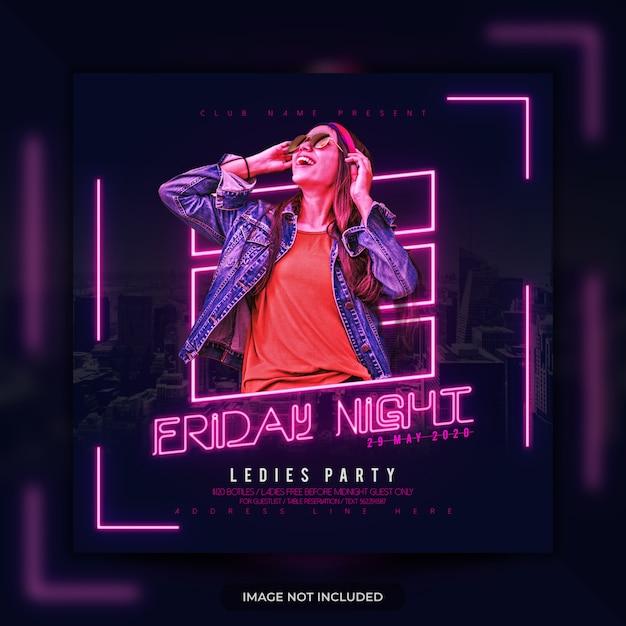 Neon Light Party Flyer Szablon Social Media Post Banner Premium Psd