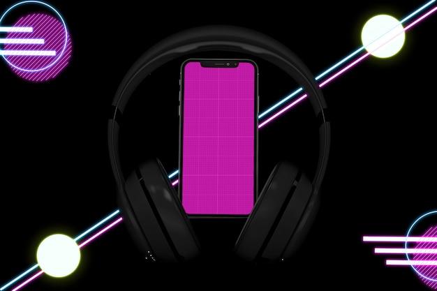 Neon Music App Mockup Premium Psd