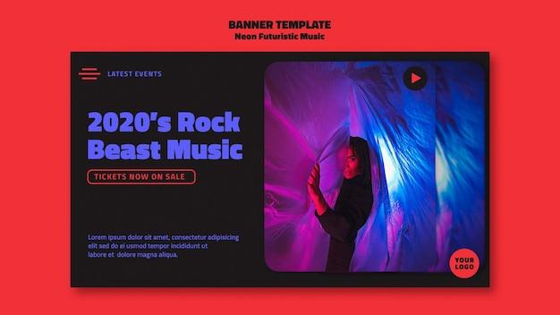 Neonowa Futurystyczna Muzyka Szablon Transparent Darmowe Psd
