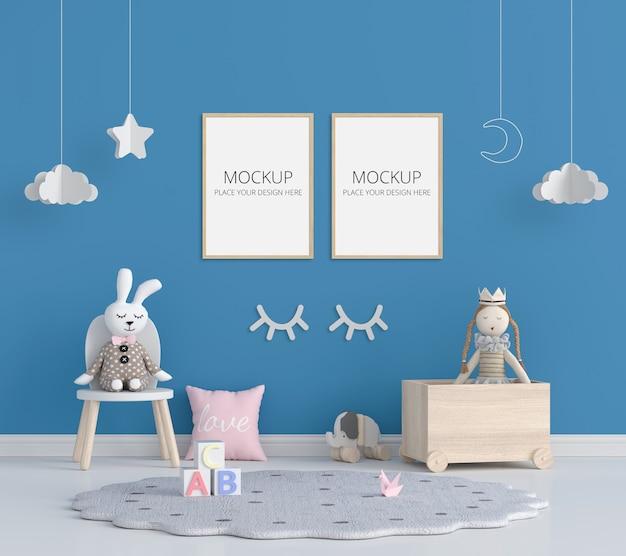 Niebieski Pokój Dziecięcy Z Makietą Ramki Premium Psd