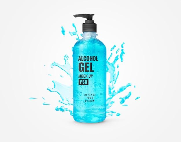 Niebieski żel Butelka Butelki Pompy Dezynfekcji Rąk Makieta Reklamowa Premium Psd
