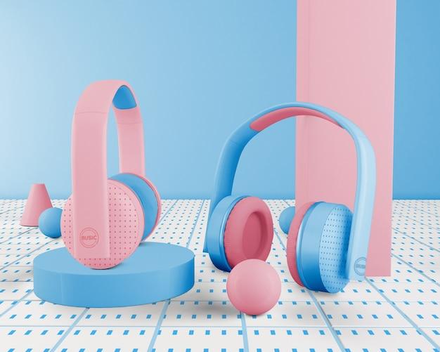 Niebieskie Minimalistyczne Słuchawki Bezprzewodowe Darmowe Psd