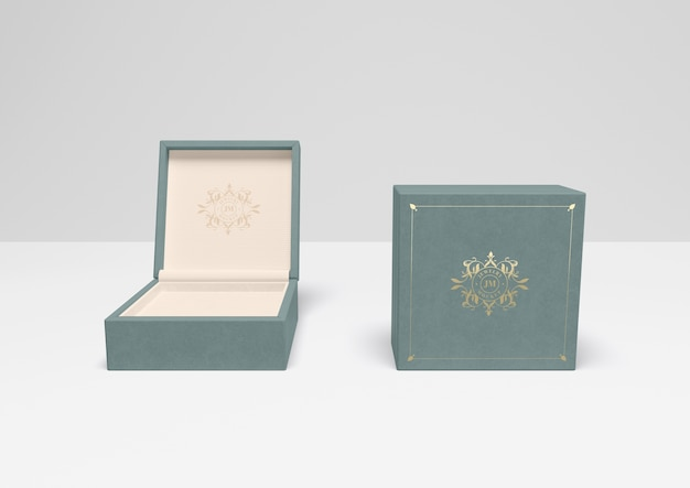 Niebieskie Pudełko Otwarte I Zamknięte Z Pokrywą Darmowe Psd