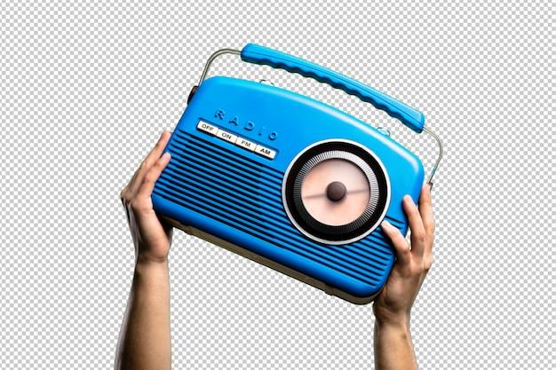 Niebieskie radio vintage izolowane Premium Psd