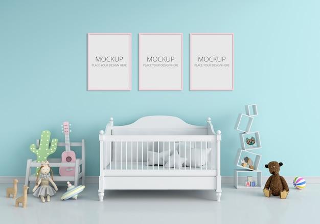 Niebieskie Wnętrze Sypialni Dzieci Do Makiety Premium Psd