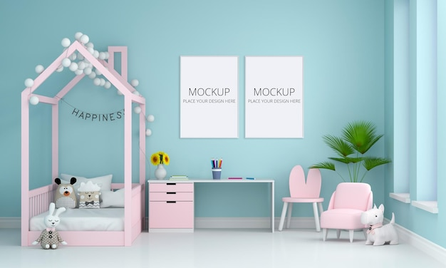 Niebieskie Wnętrze Sypialni Dzieci Z Makietą Ramki Premium Psd