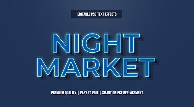 Nocny tekst efekt tekstowy premium psd Premium Psd