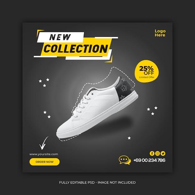 Nowa Kolekcja Butów Szablon Transparent Mediów Społecznościowych Premium Psd