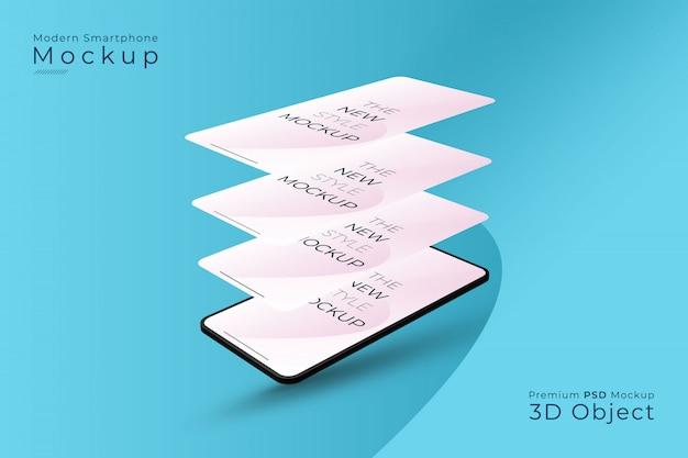 Nowoczesna Makieta Smartfona Z Różnymi Ekranami Premium Psd