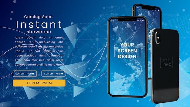 Nowoczesna, pikselowa makieta trzech realistycznych iphoneów x w niebieskiej sieci technologicznej z szablonem tekstowym psd makieta Premium Psd