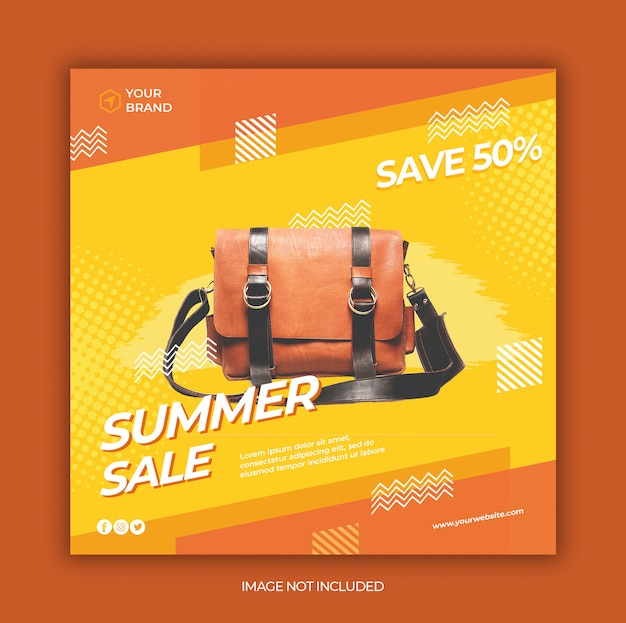 Nowoczesne Lato Sprzedaż Mediów Społecznościowych I Szablon Transparent Kwadratowych Internetowych Premium Psd