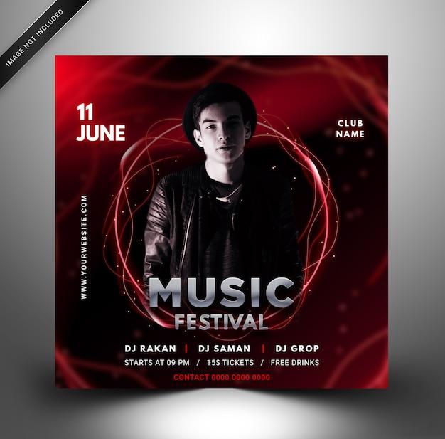 Nowoczesne Media Społecznościowe Post Music Party Szablon Premium Psd